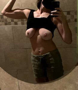 Boobs And Muscles. Bathroom Stop