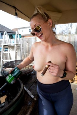 Smoking Hot Blonde Smoking A Cigar And Smoking Meat. Is This The Hottest Trifecta Possible?