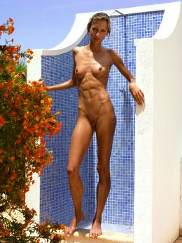 Fit And Sexy In An Outdoor Shower.