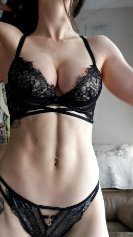 Sexy Fit Girl In Black Lingerie
